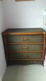 Green and Brown Wicker Chest of Drawers