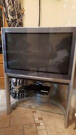 "Panasonic Quintrix SR 32"" TV and stand"