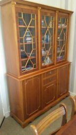 Dining Table. 6 Chairs and Display Cabinet