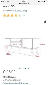 """Large white and wooden TV unit 55"""""""
