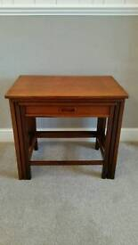 Teak Nest of Tables with Drawer.