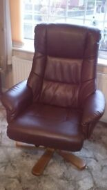 Shanghai Bonded Leather Swivel Recliner Chair Nut Brown