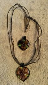 2 x beautiful glass heart shaped pendants with one necklace