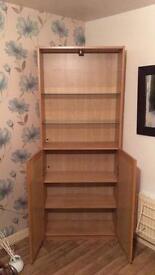 2 x Wooden units glass shelves
