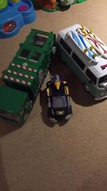 Surf van, transformer and dump truck vehicles
