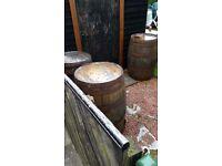 3 full size whisky barrels.