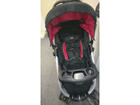 Graco Stroller Buggy Pram with Comfort Tracker Lots of Extras Black & Red