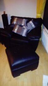 Real Black leather large storage footstool £100.0.