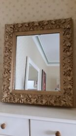 antique ornate gold framed mirror, extremely heavy highly decorative