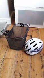Bicycle basket and ladies helmet