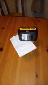 NEW, never used, Lithuim-Ion 4.0 Ah 20 v sliding battery for 18 v Dewalt tools. See photos & details
