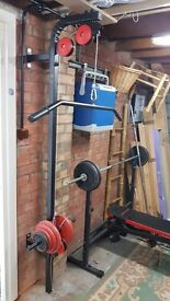 Gym form Marbo: adjustable bench, low/high pulley, iron weights 140 KG, York bike - like new !