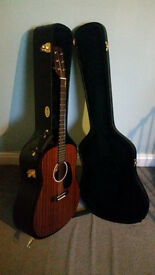 Martin DRS 1 Electro Acoustic Guitar plus Capo, Hard Case and Fender Strap