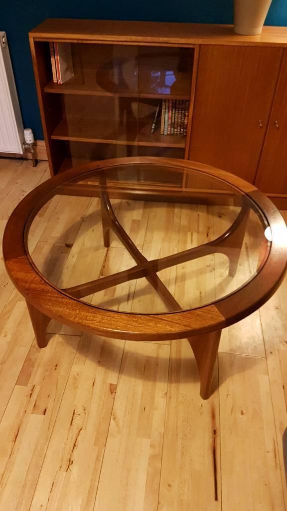 mid-century g-plan astro style round teak coffee table with glass
