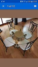 Iron glass table with 4 chairs