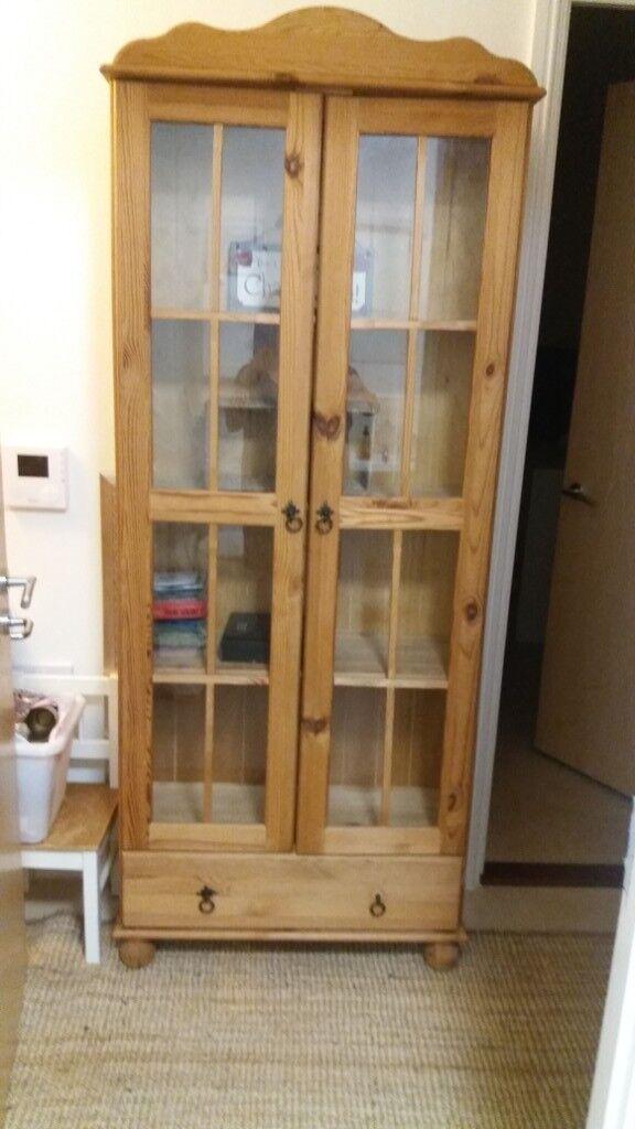 Antique pine cupboard. 4 shelves. 1 draw. 2 doors. On small round legs. Can  deliver - Antique Pine Cupboard. 4 Shelves. 1 Draw. 2 Doors. On Small Round