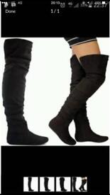 Ladies thigh high black suede boots size uk 8