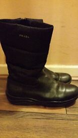 PRADA Leather girls calf length boots with PRADA carrier bag uk size 2