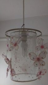 Pretty pink light shade with butterflys