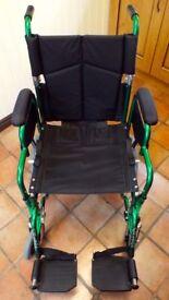 Wheelchair and Accessories. Enigma Lightweight Steel Attendant-Propelled model in metallic green