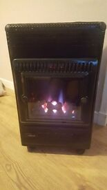 Butane gas heater with bottle of gas. Flame effect. Prefect condition.