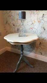 Small hall table lamp table grey and cream