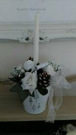 Artificial Christmas candle table centrepiece with roses