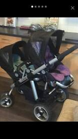Icandy apple to pear double buggy pushchair with liners rainmacs