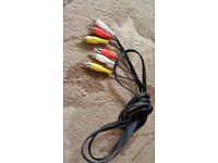 AV LEADS (RED , YELLOW , WHITE PHONO CONNECTION CABLES) NEW,