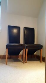 LEATHER DINING TABLE CHAIRS BLACK X 2