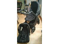 Graco Evo XT travel system (pram + car seat + isofix)