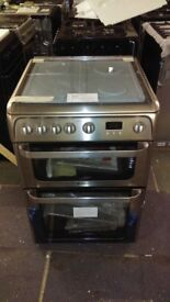 HOTPOINT stainless steel Dual Fuel GAS RANGE COOKER 60cm