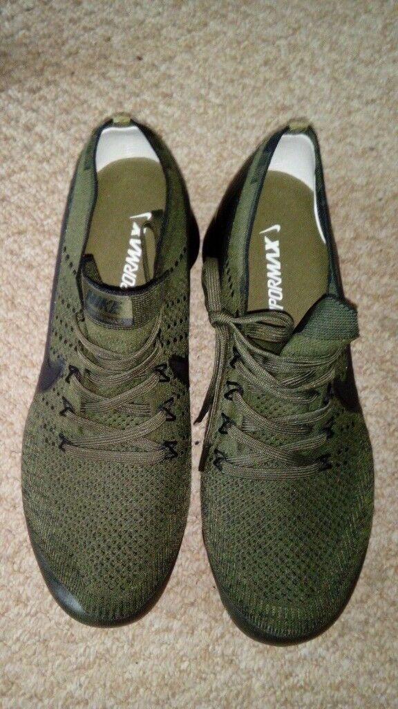 894e5a98957c Nike Air Vapormax Flyknit Trainers Mens UK Size 8.5 Khaki Army Green Black  New