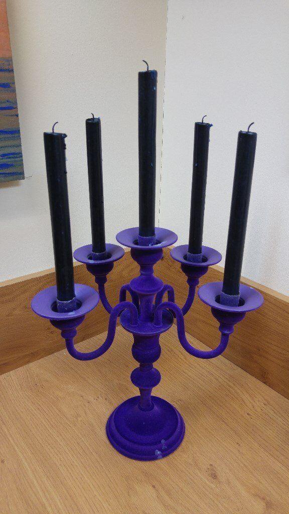 Next Purple Flocked Velvet Candelabra