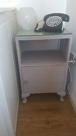 Solid upcycled side unit in dove grey