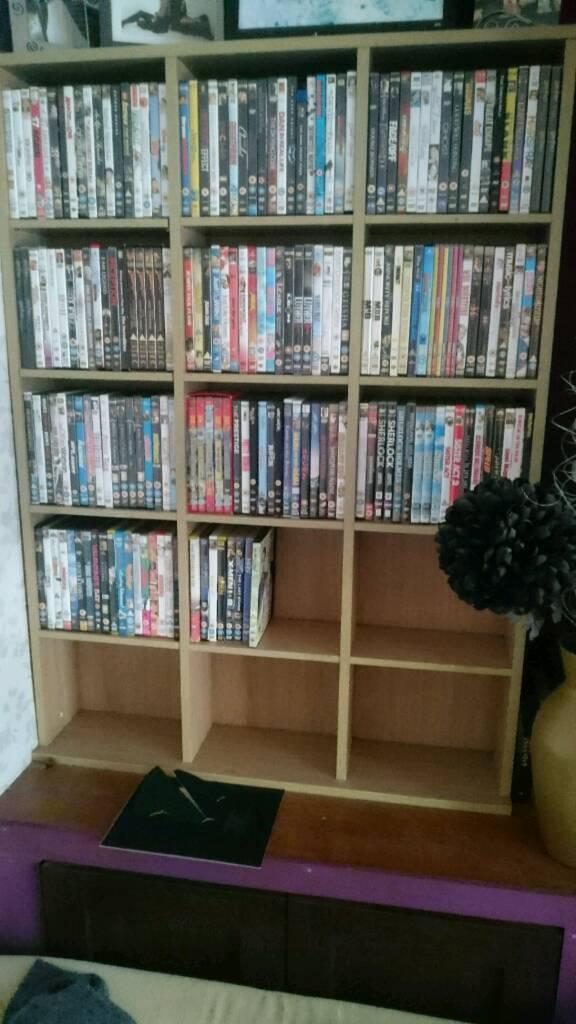 Movie Dvds and DVD shelf storage