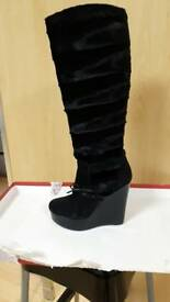 Fur & Suede wedge boots by Sachelle Couture