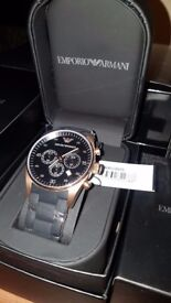 Mens Emporio Armani AR5905 Rose Gold Rubber Strap Chronograph Watch