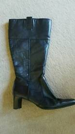 Ladies Wide Leg Black Leather Boots