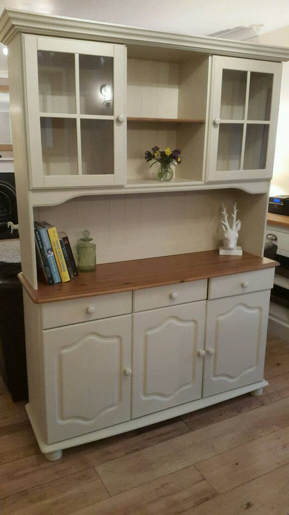 Solid pine refurbished Welsh Dresser sideboard cabinet Painted with Farrow& Ball eggshell