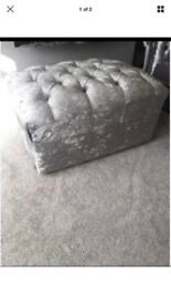 Crushed silver velvet footstool