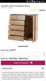 Chest of drawers with hanging space and matching bedside table