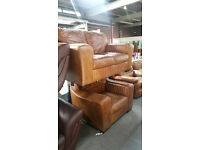 Lovely 2 seater leather sofa & chair