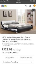 Brand new faux leather double bed white cost £129.99 selling for £100 no mattress bed frame only