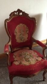 Red tapestry chair in solid walnut wood
