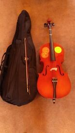 3/4 cello with bow and padded case