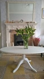 Shabby chic oval solid wood coffee table in light grey and white