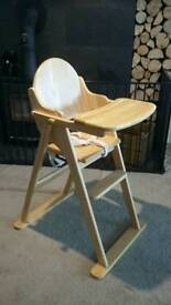 Wooden high chair - sold subject to collection