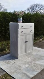 Tall Chest of Drawers With Large Cupboard. Shabby Chic, Grey/White.
