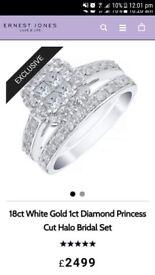 Earnest Jones 18ct white gold 1ct diamond engagement/bridal ring set (SIZE N)